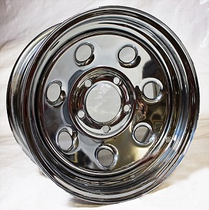 14x6 Soft Seven Chrome Clear Coated Steel Carlisle Trailer Wheel 5 Lug, 1870 lb Max Load