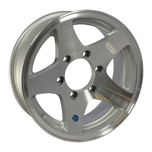 15x6 Star Aluminum Hi Spec Trailer Wheel, 6 Lug, 2830 lb Max Load