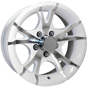 15x6 Viper White Machined Aluminum T07 Trailer Wheel 5 Lug, 2150 lb Max Load