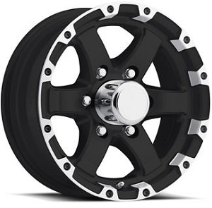 15x6 T08 Trailer Rim Grinder Matt Black Machined Lip, 6  Lug, 2830 lb Max Load