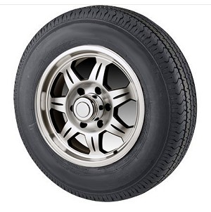 "5.30-12 Bias Ply Trailer Tire LR D, with 12"" 5 Lug SAWTOOTH Aluminum Trailer Wheel"