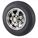4.80-12 Bias Ply Load Range C Trailer Tire, with 12 inch 5 Bolt SAWTOOTH Aluminum Trailer Rim Center Cap Included