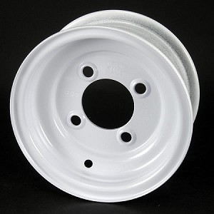 8x3.75 White Solid Steel Trailer Wheel 4x4 Bolt, 1075 lb Max Load