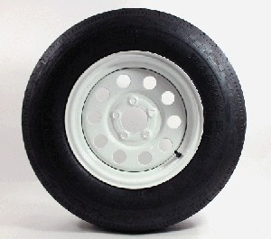 "ST17580R13 Radial Trailer Tire with 13"" White Painted 5 Bolt Modular Trailer Wheel"