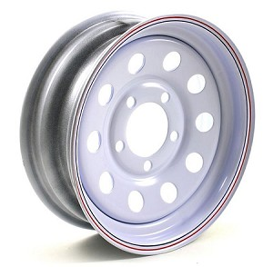 13x4.5 White Painted Modular Steel Trailer Wheel with Pinstripes, 5x4.50, 1660 lb Max Load
