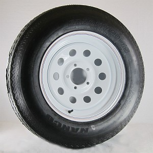 15 x 6 White Modular Trailer Wheel, 5x4.50 Lug with ST205/75D15 Nanco Trailer Tire LRC