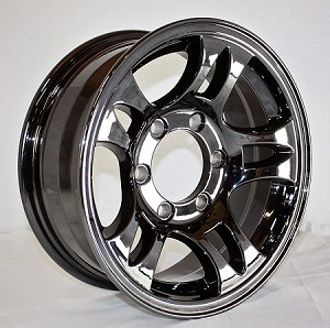 15x6 Dark Chrome Bullet T03 Trailer Wheel, Reconditioned PVD Coated Aluminum, 6 Lug, 2830 Max Load