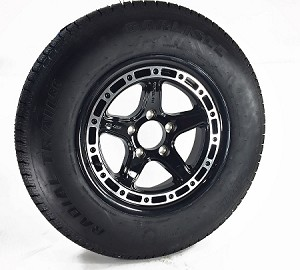 15 x 6 Black Sendel T11 Aluminum Trailer Wheel, 5 on 4.50 w/ ST205/75R15 Carlisle Radial Trailer Tire LR C