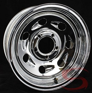 14x6 Chrome Tail Gunner Steel Trailer Wheel 5 Lug, 1900 lb Max Load