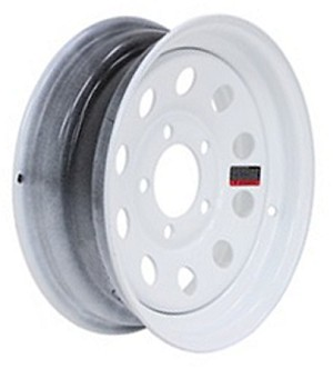 13x4.5 White Modular Steel Trailer Wheel NO Pinstripes, 5 Lug, 1660 Max Load