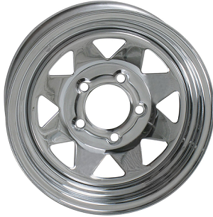 14x6 inch Chrome Spoke Steel Trailer Wheel 5 Lug, 1900 lb Max Load
