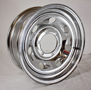 15x6 Tail Gunner Chrome Steel Trailer Wheel 6 Lug, 2850 Max Load