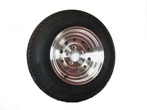 ST215/75D14 Bias Ply Trailer Tire with 14 x 5.5 Aluminum Sendel Modular Trailer Wheel Wheel