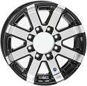 17.5x6.75 Series07 Black Aluminum HiSpec Trailer Wheel, 8 Lug, Center Cap Incl., 4850 lb Max Load