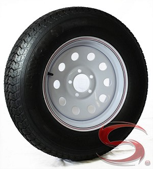 ST205/75D15 Bias Ply Import Trailer Tire & 15x6 White Mod HD 2600 lb Trailer Wheel Assembly