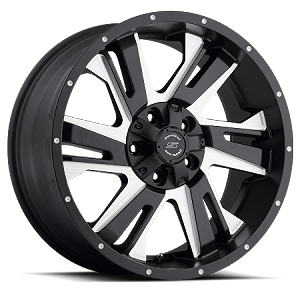 18x9 S36 Night Hawk Sendel Black Aluminum Wheel (Matte Black Milled), 5x4.50 Lug, 2200 lb Capacity