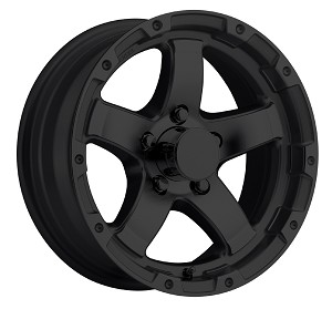 13x5 Matte Black T08 Aluminum Sendel Trailer Wheel 5 on 4.50 T08-35545MB
