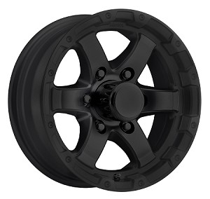 15x6 T08 Matte Black Aluminum Trailer Wheel 6 on 5.50  T08-56655MB