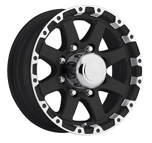 16x6 Matt Black Grinder Machined Lip T08 Trailer wheel, 8 Lug, 3750 lb Max Load