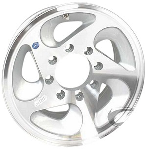 16x7 Hispec Series05 Aluminum Trailer Wheel HD, 8-Lug, 3960 lb Max Load