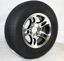 ST205/75R14 LR C RADIAL ST FREESTAR Trailer Tire mounted on 14 x 5.5 Machined/Black Inlay Bullet Aluminum Trailer Rim 5 Lug