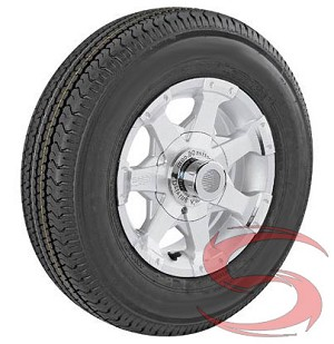 ST205/75R14 Radial Trailer Tire and 14 inch 5 Bolt Series 6 Aluminum Trailer Rim