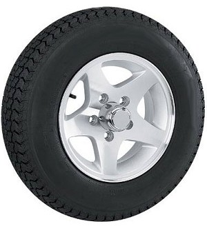 ST145R12 Radial Trailer Tire Load Range D with 12 inch Star Aluminum Trailer Rim