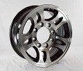 16x6 Aluminum Bullet T03 Trailer Wheel with Black Inlay 8 Lug, 3580 Max Load