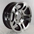 16x6 Aluminum Bullet T03 Trailer Wheel with Black Inlay 6 Lug, 3580 Max Load