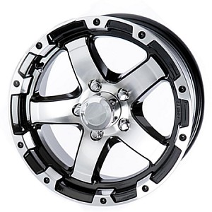 13x5 Aluminum Black and Machined T08 Sendel Trailer Wheel, 5x4.50 Lug, 1660 lb Max Load