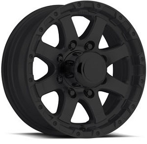 17 x 8 Matt Black Aluminum Sendel T08 Trailer Wheel, 5 on 4.50, 2200 lb Max Load