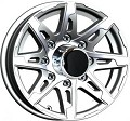 16x6 Silver T10 Sendel Aluminum Trailer Wheel 8 on 6.50 Lug 3,750 lb Max Load