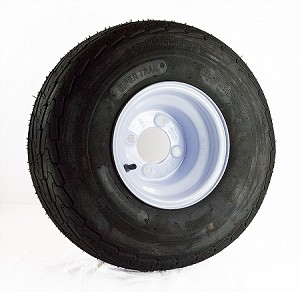 18.5x8.50-8 Super Trail Golf Cart Tire LR B, 815 lb Max Load mounted on 8x7 Solid White Steel OEM Trailer Wheel, 4 on 4 Bolt