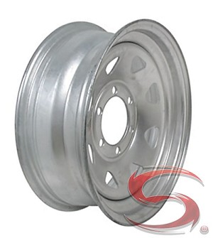 16x6 Galvanized Spoke Steel Trailer Wheel, 6 Lug, 3760 lb Capacity