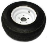 20.5x8-10 Tire Load Range D mounted on White Steel Trailer Wheel 5x4.50 Bolgt