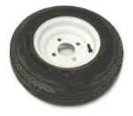 4.80 - 8 Solid White Trailer Rim and Tire Load Range B, Assembly 4 on 4