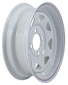 12x4 White Steel Spoke Trailer Wheel with Pinstripe 4 Lug,1045 Max Load