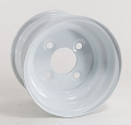 8x5.375 White Painted Steel Trailer Wheel, 4x4 Lug 900 lb Max Load