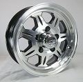13x5 SAWTOOTH 870 Aluminum Trailer Wheel, Center Cap incl. 5x4.50 Bolt, 1660 lb Max Load