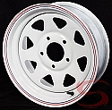 15x6 White Spoke Trailer Wheel 5 on 5 Lug, 2600 lb Max Load