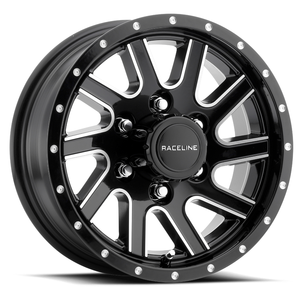 15 X 6 820m Twisted Black Machined Aluminum Trailer Wheel