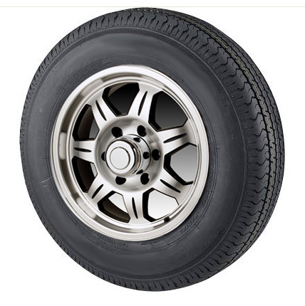 str radial trailer tire     bolt sawtooth aluminum trailer rim
