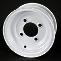 8x3.75 White Solid Steel Trailer Wheel 4x4 Bolt, 1,075 lb Max Load