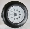 15 x 6 White Modular Trailer Wheel, 5x4.50 Lug with ST205/75D15 LR C Treadstar Bias Trailer Tire