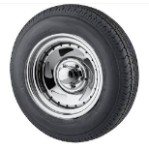 ST205/75R15 LRC Radial Trailer Tire with 15 inch 5 Bolt Chrome Blade RimWith Rivits By U.S Wheel
