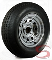 ST205/75R15 Radial Trailer Tire w Chrome Modular Trailer Wheel 5x4.5 Bolt with Rivets