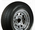 ST205/75D15 inch Bias Ply Trailer Tire w Chrome Modular 5 Bolt Trailer Rim