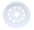 12x4 White Painted Modular Trailer Wheel NO Pinstripe, 5 Lug, 1220 lb Max Load