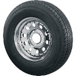 ST205/75D14 Bias Ply Trailer Tire with 5 Bolt Chrome Modular With Rivits Trailer Rim By U.S Wheel
