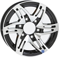 15x6 Black HWT Hi Spec Series 09 Trailer Wheel 6 on 5.5 Lug, 2,830 lb Max Load